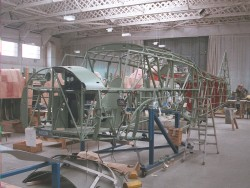 Anson frame in hangar at Duxford